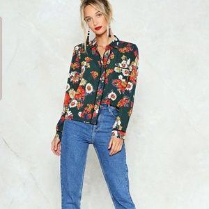 Nasty Gal Collection Grow Away Floral Shirt